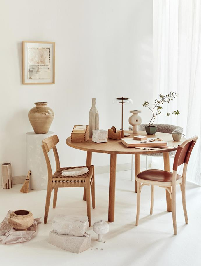 **Artwork** by Kyle Murrell, $590, from The DEA Store. Carl Hansen & Søn 'CH36' **chair**, $1182, and 'CH23' **chair**, $1364, both from Cult. Møbel Copenhagen 'Font' dining **chair**, from $2255, from Fred International. Taro **table**, from $6780, from Great Dane. Helsinki **linen** (used as curtain), POA, from Westbury Textiles. **On table**, clockwise from left Oak stepped **container**, $129, from Ginkgo Leaf. Paola Paronetto clay **bottle**, POA, from Fanuli. New Volumes 'Artemis' **candleholder**, $436, from Cult. Oak **tape dispenser**, $129, from Ginkgo Leaf. 'Blossi' **table lamp**, $1695, from Great Dane. Humble Matter 'TTM' **vessel**, $1150, from Curatorial+Co. Keshiki potted plant, $59, from Ginkgo Leaf. Alpren glazed **mug**, $48, from Planet. Dinesen timber **flooring**, POA, from Precision Flooring. Brass **scissors**, $116, from Planet. **On floor, from left** 'Drip' **vase** by Alessandro Di Sarno, $300, from Neil Bradford. Katarina Wells **vase**, $240, from Curatorial+Co. **Brush**, $45, from The DEA Store. Stoneware **vase**, $590, from Planet. Papier-mâché **vessel**, POA, from Water Tiger. **Background** painted in Porter's Paints 'Popcorn'.