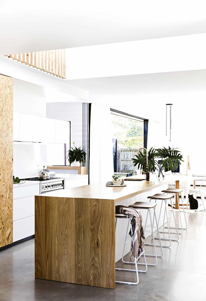 """""""Nathan [from Mr & Mrs White] was great at transforming basic design briefs into quality joinery to exact dimensions,"""" says Clyde. Using the local brand's signature raw and chunky timber pieces helped capture the contemporary coastal lifestyle the family love."""