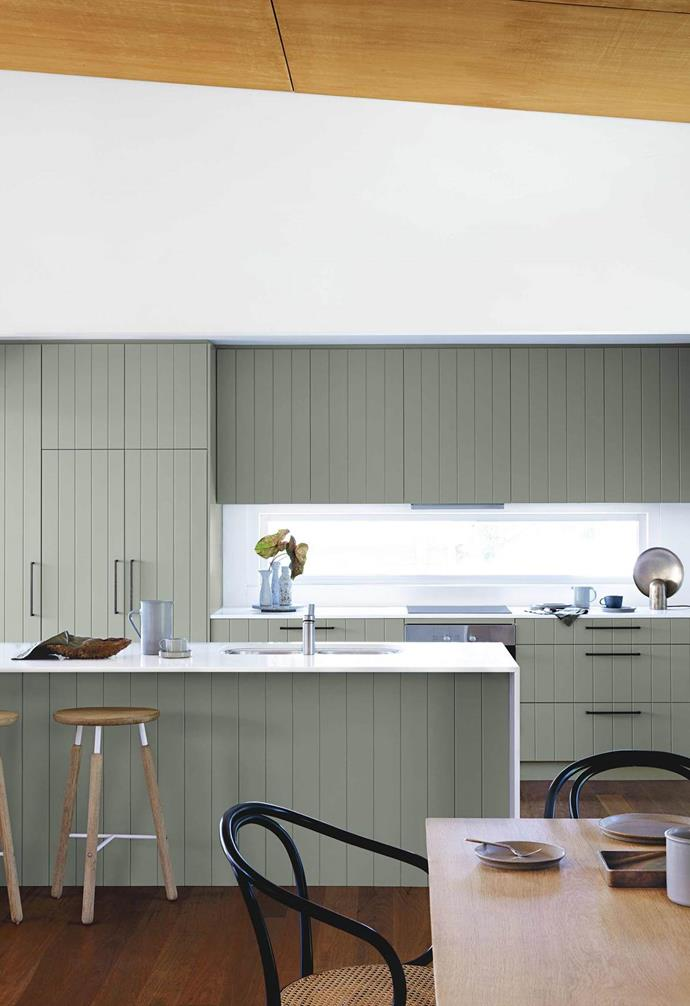 "A serene designer [beach house](https://www.homestolove.com.au/macmasters-beach-house-18226|target=""_blank"") takes colour cues from its bush surroundings. The old cupboards were replaced with shiplap cabinetry in Dulux Tarzan Green for a fresh look."