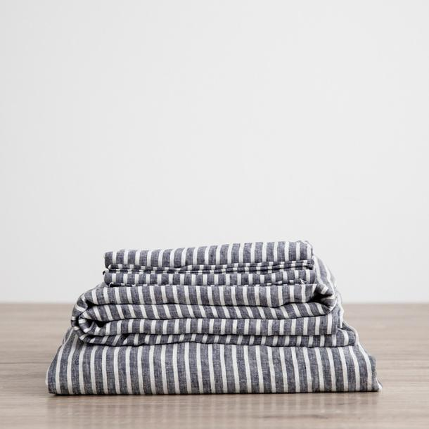"""Linen sheet set with pillowcases in indigo stripe, from $425, [Cultiver](https://cultiver.com.au/collections/sheets-sets/products/linen-sheet-set-with-pillowcases-indigo-stripe