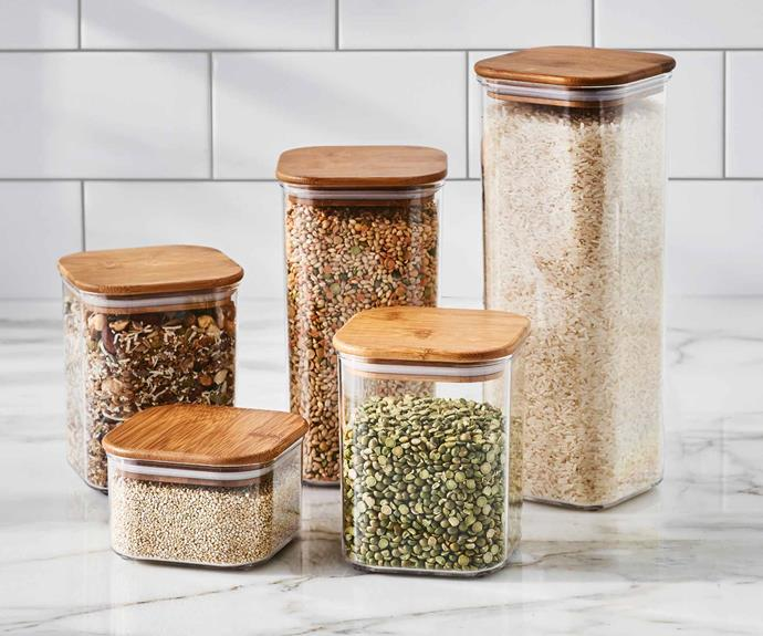 """**Kitchen** Storage containers 5 piece set with bamboo lid, $19.99, [Aldi Australia](https://www.aldi.com.au/en/special-buys/ target=""""_blank"""" rel=""""nofollow"""")."""