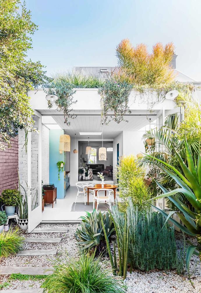 "**Exterior** ""Instead of a deck next to the dining area, we put it down the back and planted the garden in the middle. This encourages you to wander down the path, to see what's behind,"" says Jace, who also designed the [rooftop garden](https://www.homestolove.com.au/rooftop-gardens-2933