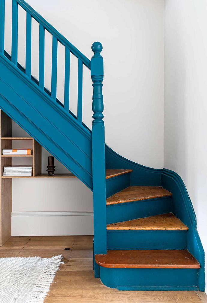 "**Stairs** ""The stairs are original and reminded me of the old building I lived in in Paris. They were the most beautiful thing in the living room and we wanted to make them pop,"" says Aurélie, who chose Aral Sea by [Murobond](https://murobond.com.au/