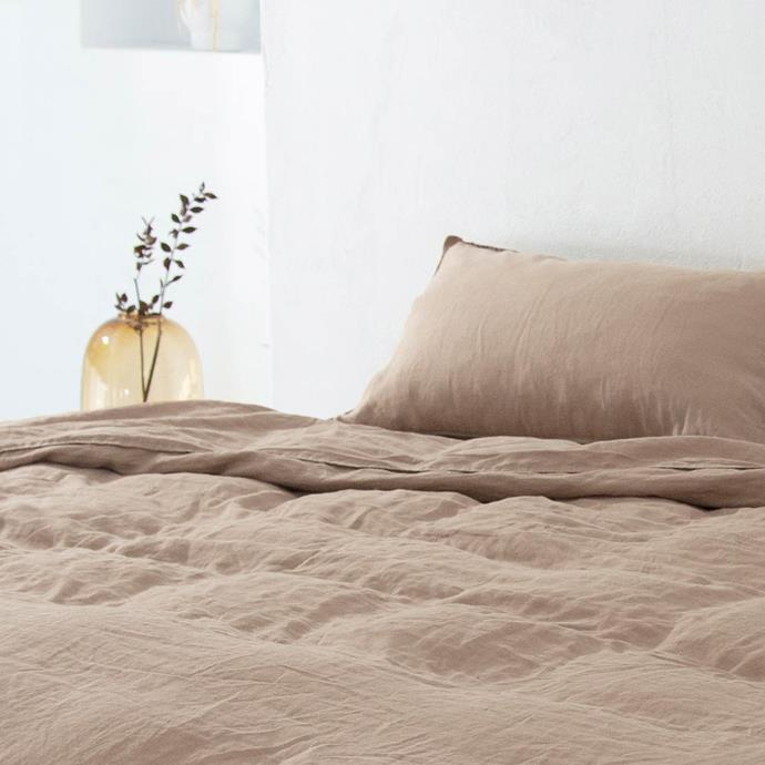 """'Eve' linen quilt cover in Mocha, $290 (queen), [Sheet Society](https://www.thesheetsociety.com.au/collections/linen-sheets/products/linen-sheets-mocha