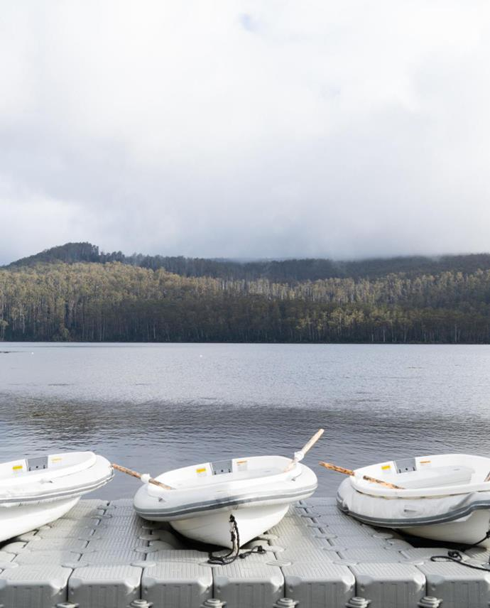 Rowboats are on hand to explore the lake.