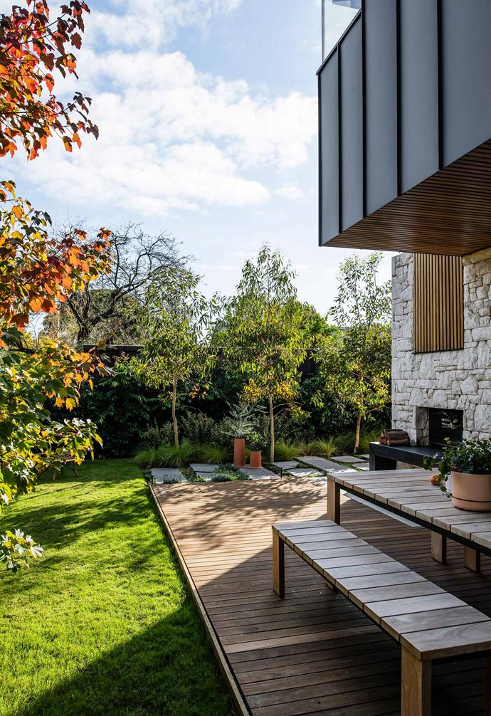 Looking towards the rear of the garden takes in the home's stunning contemporary addition.