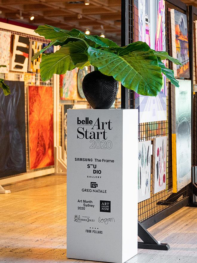 The 2020 *Belle* ArtStart program was made possible by Studio Gallery, Samsung The Frame, Greg Natale, Perrier-Jouët, the Art Gallery of New South Wales, Art Month Sydney, Four Pillars, Logan Wines and Fever-Tree.