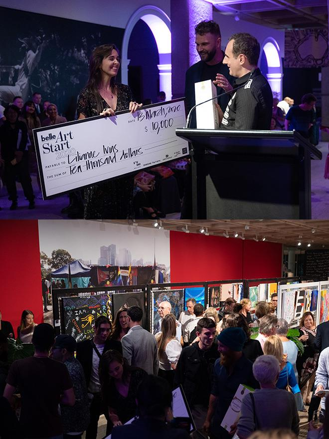 Lilianne Ivins was awarded the first prize of $10,000 by ArtStart sponsor and judge Greg Natale.