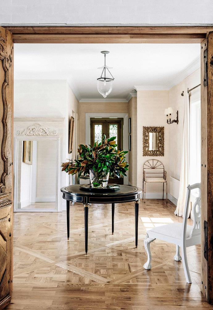 "In [Melissa Penfold's French-inspired country home](https://www.homestolove.com.au/melissa-penfolds-french-inspired-country-house-2537|target=""_blank"") elegant parquetry flooring is a glamourous feature throughout the abode. The varying tones and grains in the timber are emphasised by the parquetry flooring."
