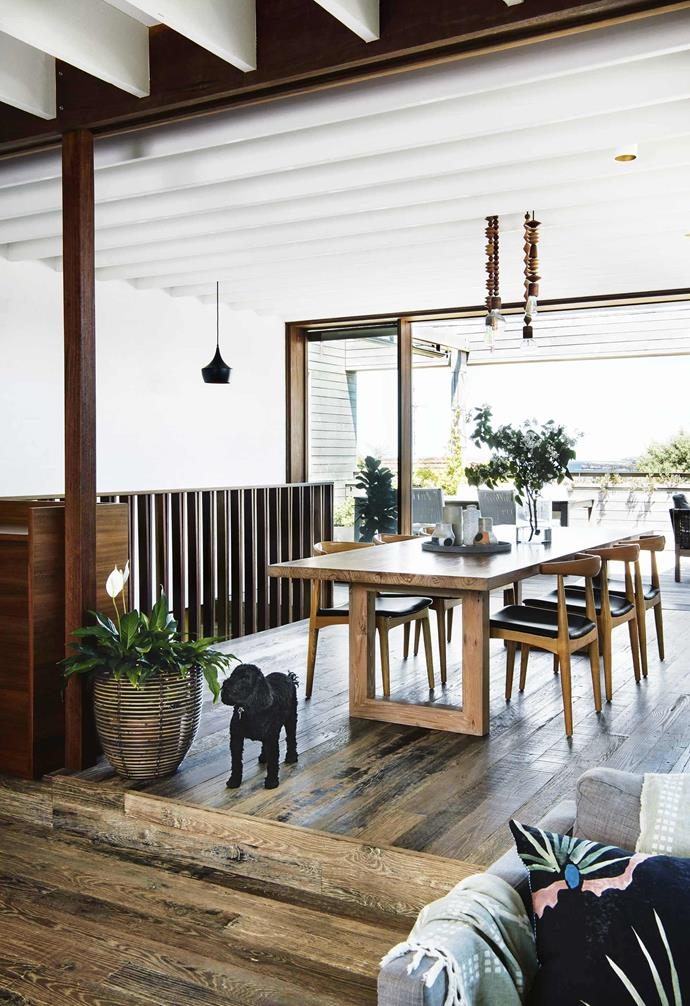 "Narrow timber floorboards were chosen for this [coastal home in Clovelly](https://www.homestolove.com.au/reverse-brick-veneer-house-18270|target=""_blank"") with each recycled barn oak board showing off its natural grain and mix of shades for an organic look."