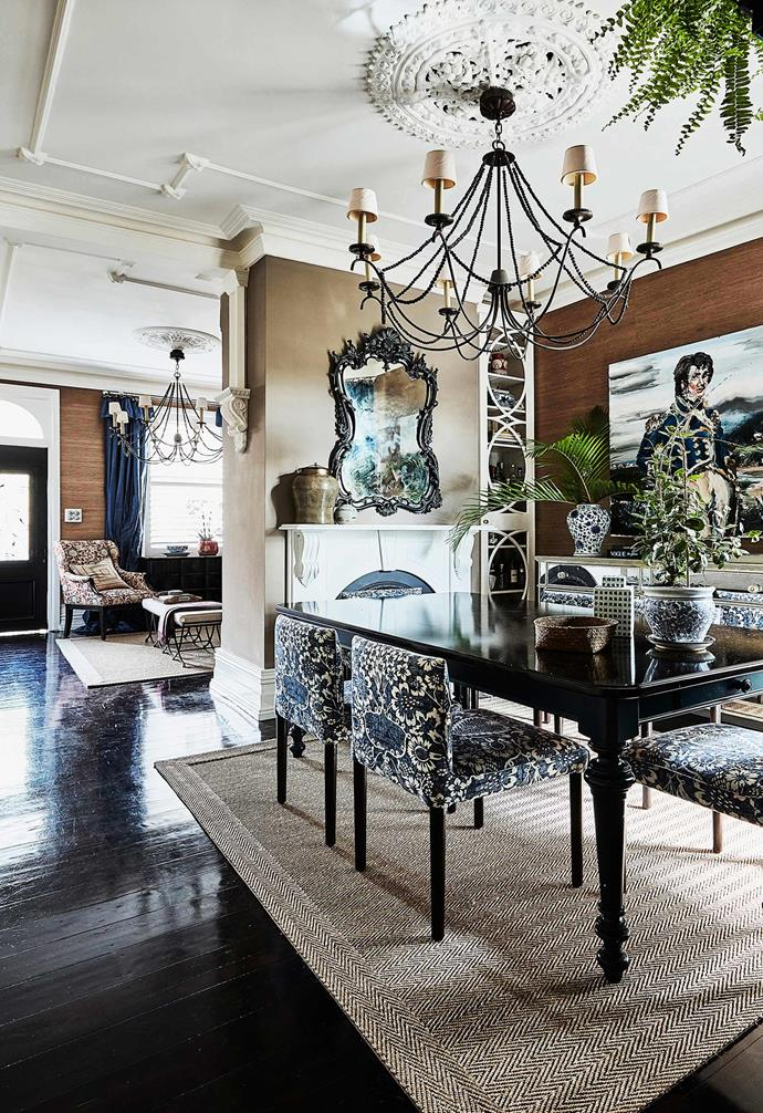 "Originally built in the 1880s, this [Sydney terrace](https://www.homestolove.com.au/1880s-sydney-terrace-home-with-charming-interiors-20319|target=""_blank"") features its original ceiling details and is paired with a [Black Japan](https://www.homestolove.com.au/what-is-black-japan-flooring-14511