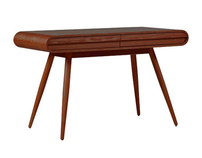 """For those who love a mid-century modern style look, this desk perfectly blends form with function. 'Renee' 2-drawer desk, $449, [Temple and Webster](https://www.templeandwebster.com.au/Renee-2-Drawer-Desk-HVRNDKAH-TPWT1675.html