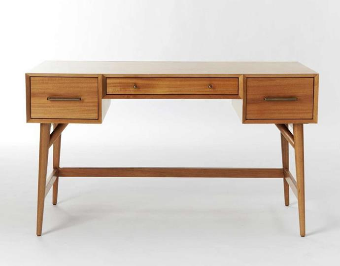 """**'Mid-century modern' desk, $1099, [West Elm](https://www.westelm.com.au/mid-century-desk-acorn-h209