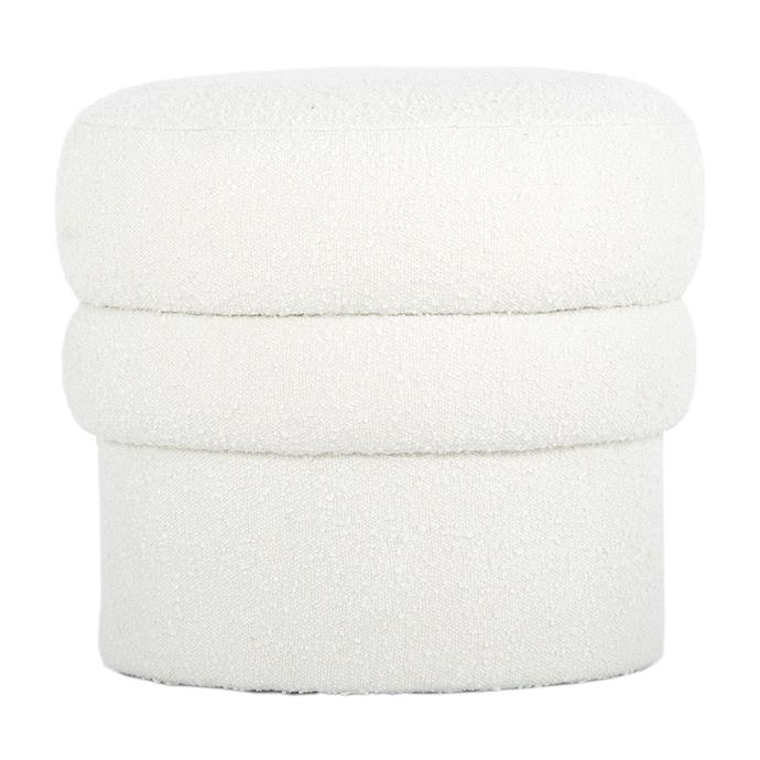 "Nothing says chubby like bouclé, but if you're looking for a just of touch of the wool-like upholstery, try the [Monet Bouclé Ottoman](https://www.lifeinteriors.com.au/life-interiors-monet-boucle-ottoman-white?gclid=Cj0KCQjwjcfzBRCHARIsAO-1_OqzBebaxLYwjwy5CxK2jGngrB4GgLYFzh1jPS6fXk2O2VdC74V1OlUaAhvEEALw_wcB |target=""_blank"") from Life Interiors."