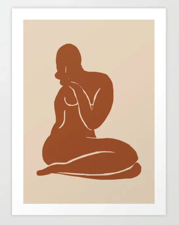 "Terracotta Nude print by Little Dean, $19.00, from [Society6](https://society6.com/product/terracotta-nude2290858_print?sku=s6-11552626p4a1v45|target=""_blank"")."