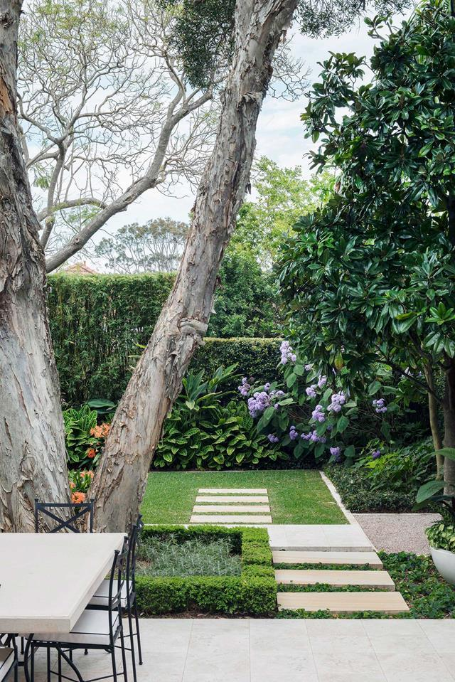 "Once its pebblecrete stepping stones were removed, this [Sydney garden](https://www.homestolove.com.au/backyard-garden-designed-for-outdoor-living-19155|target=""_blank"") could be rezoned into equal parts lawn and outdoor living. Matt Cantwell's overarching mission was to create a green and serene space. ""When you walk in here, it's soft and easy on the eye. There's enough visual interest to make it engaging, but it's still a very calming and soothing garden."""