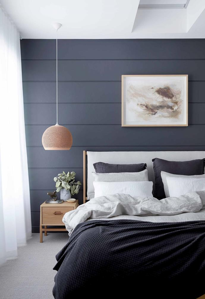 "**Main bedroom** Melissa teamed the timber-panelled wall in [Dulux](https://www.dulux.com.au/|target=""_blank""