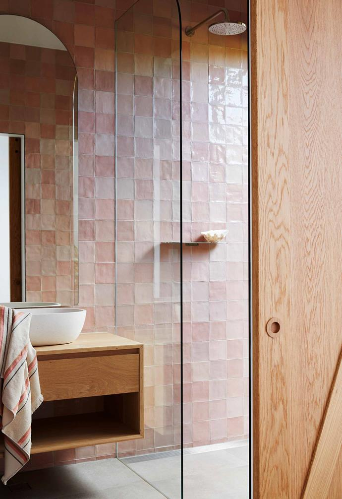 "**Bathroom** Pale pink Nazari Asilah tiles from [Earp Bros](https://earp.com.au/|target=""_blank""