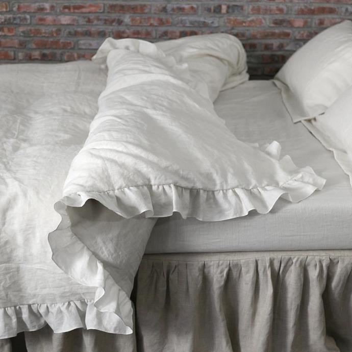 "Ruffles Linen Duvet cover in Stone Grey, $215, [LinenShed](https://www.linenshed.com.au/collections/bed-linen-in-salmon/products/ruffles-linen-duvet-cover|target=""_blank"")."