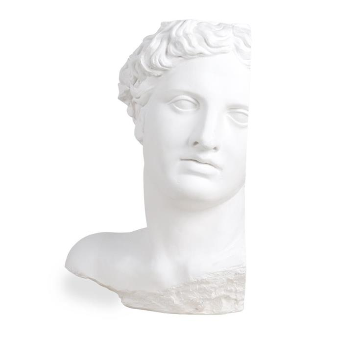 "Plaster Apollo Statue, HK Living, $499, [House of Orange](https://www.houseoforange.com.au/products/plaster-statue-apollo?_pos=1&_sid=48dd1f6ab&_ss=r|target=""_blank"")."