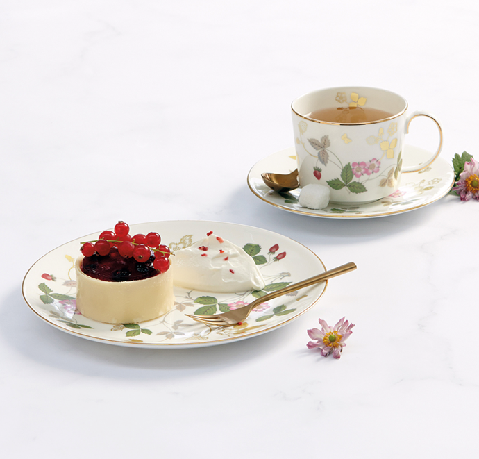 "Wild Strawberry Gold Iconic Teacup & Saucer, $159, [Wedgwood](https://www.wedgwood.com.au/wild-strawberry-gold-iconic-teacup-saucer.html|target=""_blank"")."