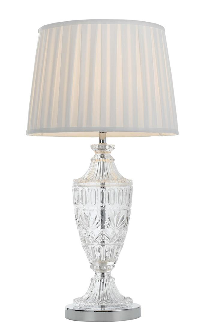 "Glass Table Lamp With Pleated Shade, Sigrid, $199.80, [Restoration Online](https://www.restorationonline.com.au/table-lamp-glass-base-with-pleated-shade-sigrid|target=""_blank"")."