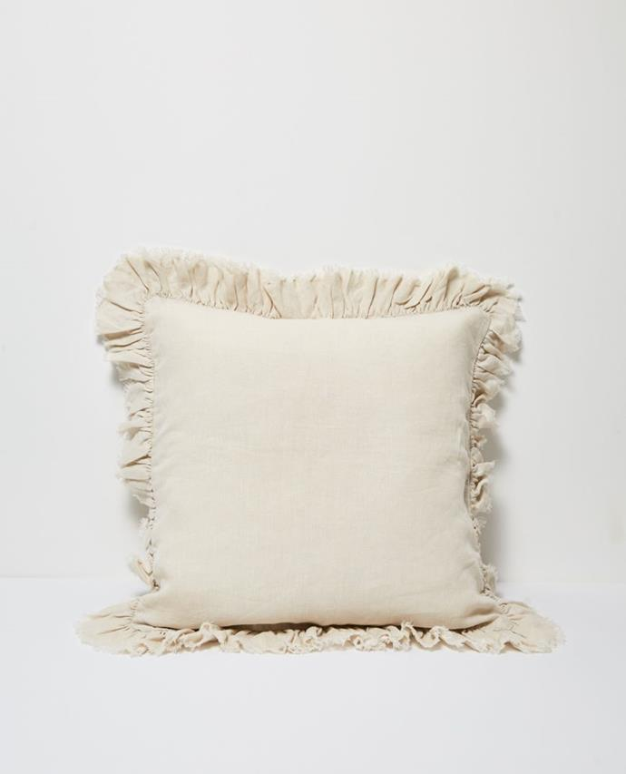 "Agnes Linen Cushion with ruffle edge in Flax, $79.95, [Papaya](https://www.papaya.com.au/agnes-linen-cushion-w-ruffle-edge-flax|target=""_blank"")."