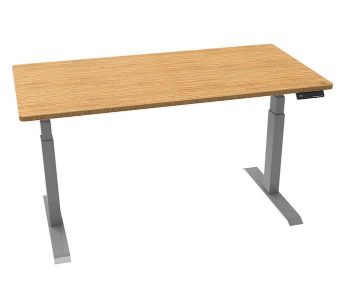 "Zen Bamboo sit stand desk, $929-$1099, [Zen Space Desks](https://www.zenspacedesks.com.au/product/zen-bamboo-sit-stand-desk/|target=""_blank""|rel=""nofollow"")."