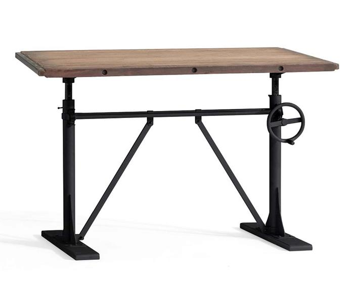 "Pittsburgh crank standing desk, $1424, [Pottery Barn](https://www.potterybarn.com.au/crank-standing-desk?quantity=1&attribute_1=Washed%20Pine|target=""_blank""