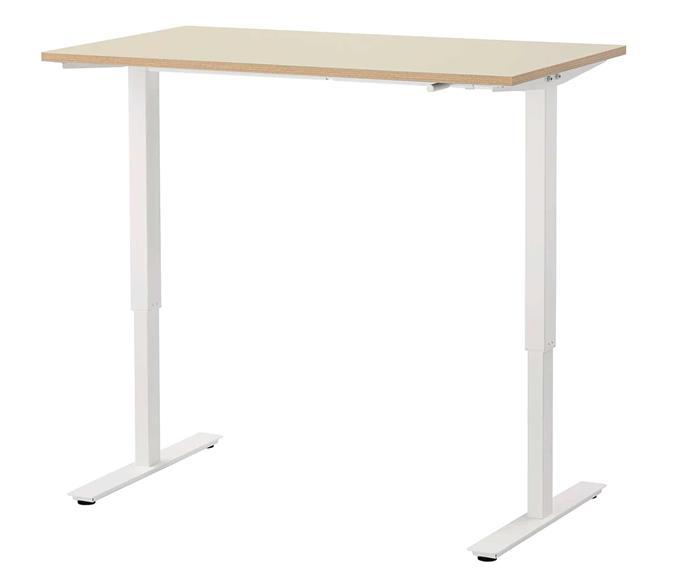 "SKARSTA sit stand desk, $249, [IKEA](https://www.ikea.com/au/en/p/skarsta-desk-sit-stand-beige-white-s89320814/|target=""_blank""|rel=""nofollow"")."