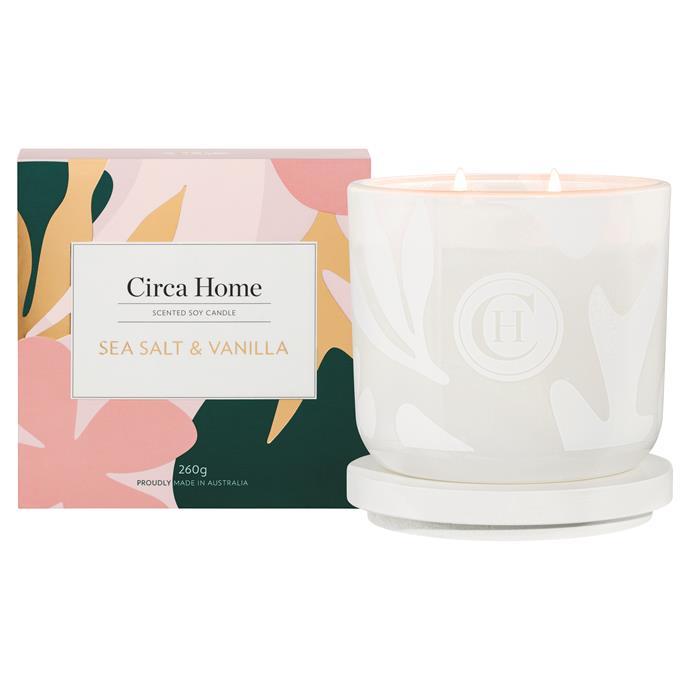 "Sea Salt & Vanilla candle, $34.95, [Circa Home](https://www.circahome.com.au|target=""_blank"")"