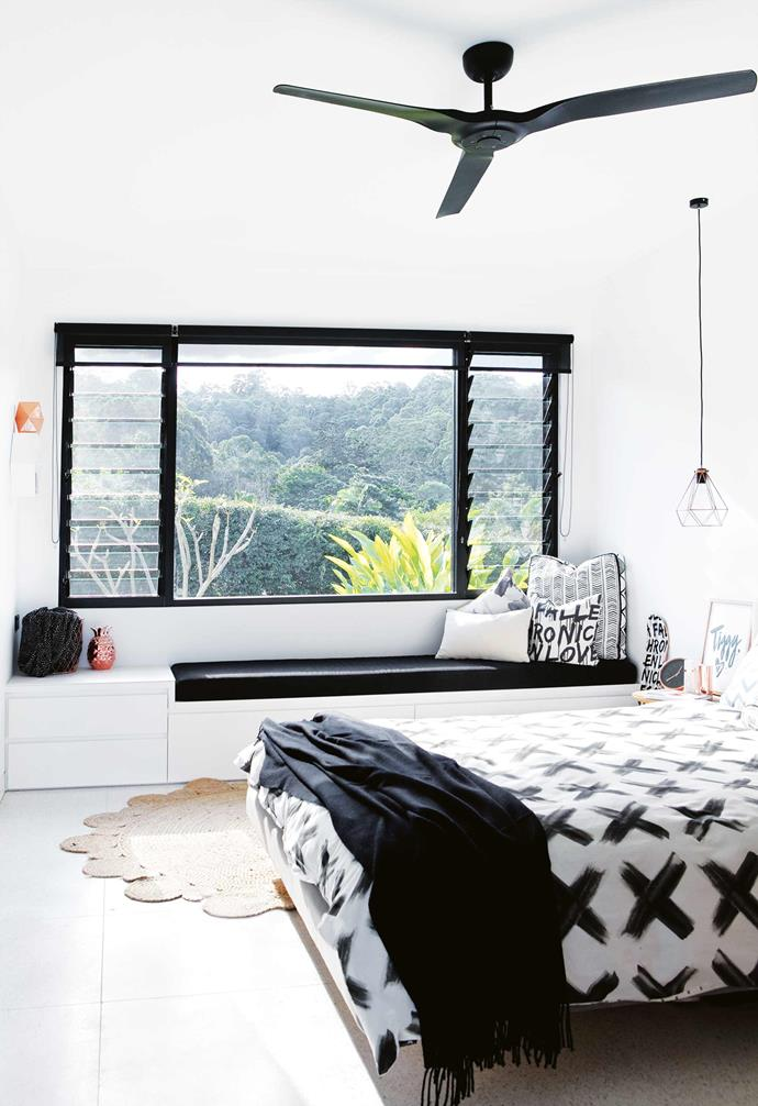 """Using CAD renders, Sarah broke down the home into different areas, but made sure the overall plan was open and connected. The house was always going to be big, spanning 700 square metres, but she was aware of making it feel cosy, too, so she used joinery and cabinetry to create little nooks and spaces.<br><Br>**Bedroom** Joinery by Gull Brothers adds plenty of storage. """"We wanted a calm and contained home,so storage was a must,"""" says Sarah."""