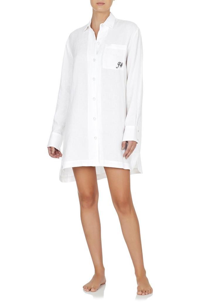 "Monogrammed Linen Boyfriend Shirt - White with White Trim, $139, [Jasmine and Will](https://www.jasmineandwill.com/monogrammed-linen-boyfriend-shirt-white-with-white-trim.html|target=""_blank"")"