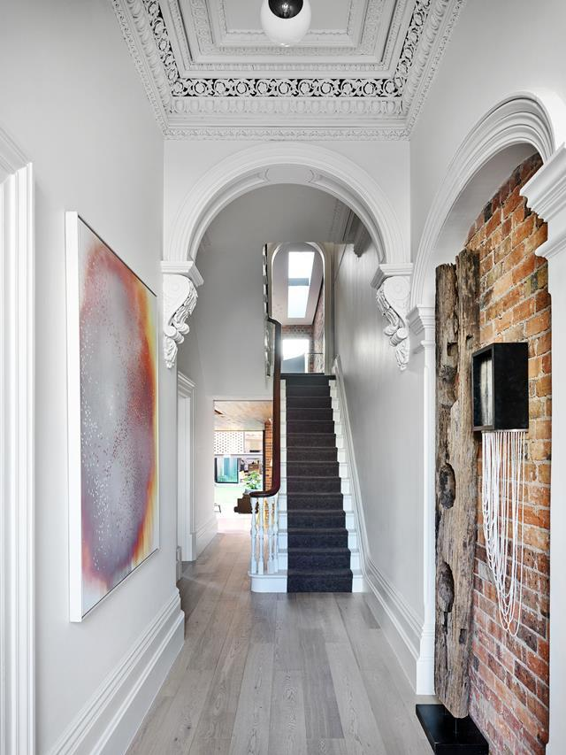 "A historic terrace was given a new lease of life by Matt Gibson and Karen Batchelor of Matt Gibson Architecture + Design, which maintains its heritage ethos. The brief was to adapt a [Victorian terrace house](https://www.homestolove.com.au/an-award-winning-victorian-terrace-restoration-7065|target=""_blank"") for a family of five. It had previously been used as a commercial space, and the client wished to repair, restore and celebrate its heritage, and bring it into the current day."
