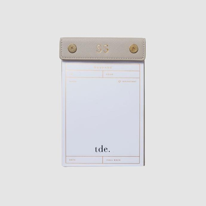 "Monogramed Message Pad in Dove Grey, $34.95, [The Daily Edited](https://www.thedailyedited.com/mist-grey-messages-pad|target=""_blank""