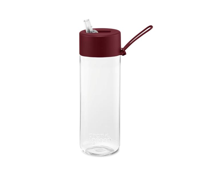 "Original resuable water bottle with merlot lid, $39.95, [Frank Green](https://frankgreen.com.au/collections/reusable-bottles?t=original-reusable-bottle&s=original-reusable-bottle-25oz-straw-lid&base=default-title&lid=merlot&strap=merlot|target=""_blank""|rel=""nofollow"")"