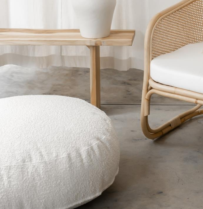 "Lewis Pouf Boucle Ivory, $399.00, [McMullin & co.](https://www.mcmullinandco.com/lewis-pouf-boucle-ivory|target=""_blank""