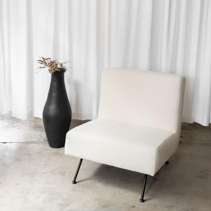 "Lounge Chair, Boucle Ivory, $1,599.00, [McMullin and co.](https://www.mcmullinandco.com/lounge-chair-boucle-ivory|target=""_blank""
