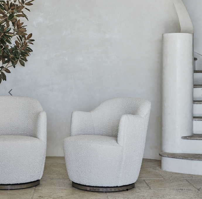 "Milou Swivel Chair with Timber Base, $1,595, [Coco Republic](https://www.cocorepublic.com.au/milou-swivel-chair-with-timber-base|target=""_blank""