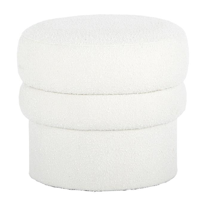 "Monet Boucle Ottoman, $295.00, [Life Interiors](https://www.lifeinteriors.com.au/life-interiors-monet-boucle-ottoman-white|target=""_blank""