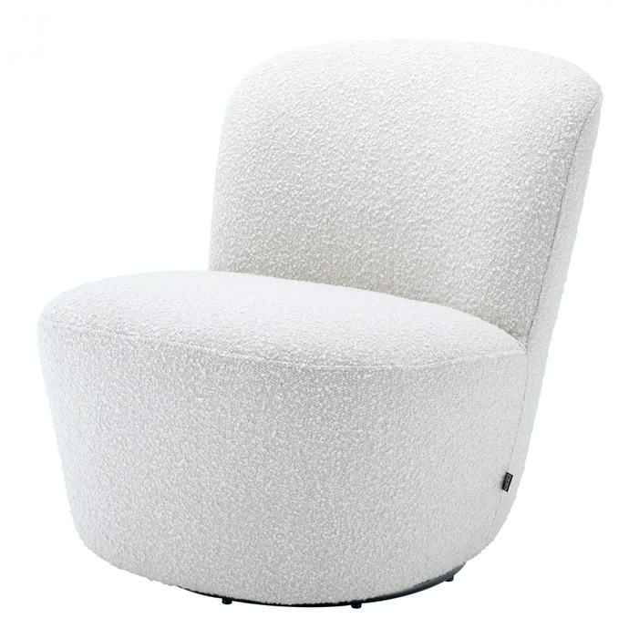 "Doria Boucle Off-White Swivel Armchair, $1,660, [James Said](https://www.jamessaid.com.au/doria-boucle-off-white-swivel-armchair.html|target=""_blank""