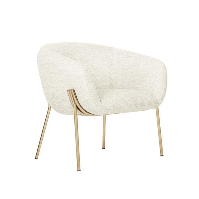 "Albie Occasional Chair, $995, [Globe West](https://www.globewest.com.au/albie-occasional-chair|target=""_blank"")"