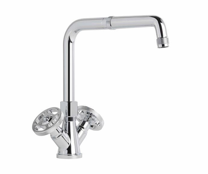 "Industrica sink mixer in Durobrite Chrome, $878, [Brodware](https://brodware.com/|target=""_Blank""|rel=""nofollow"")."