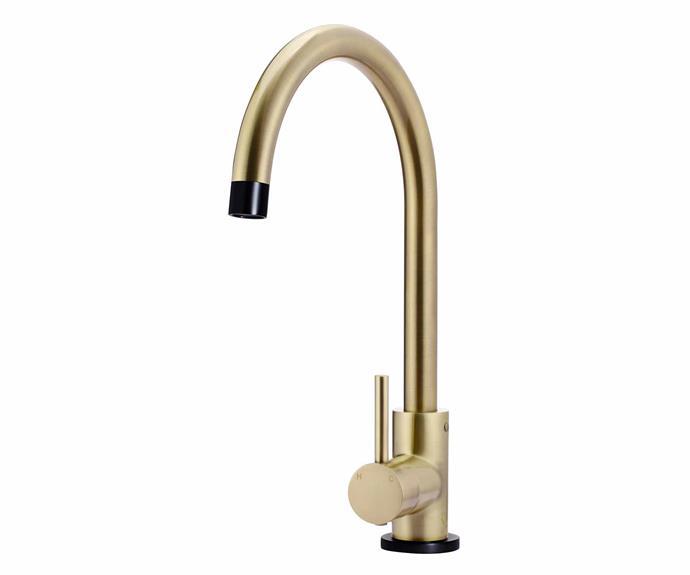 "Round sink mixer in Gold Black (4-star WELS rating), $579, [Meir](https://www.meir.com.au/|target=""_Blank""|rel=""nofollow"")."