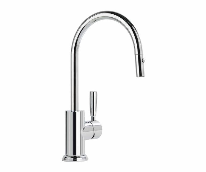 """Manhattan pull-out mixer in Durobrite Chrome, $887, [Brodware](https://brodware.com/
