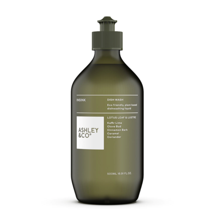 "Ashley + Co Insink Dish Wash, Lotus leaf + Lustre, $19.90, [The Banyan Tree](https://thebanyantree.com.au/products/ashley-co-dish-wash?utm_medium=cpc&utm_source=google&utm_campaign=Google%20Shopping&gclid=EAIaIQobChMIgfPd79LD6AIViYqPCh2JYQmSEAQYAiABEgL3mvD_BwE|target=""_blank""