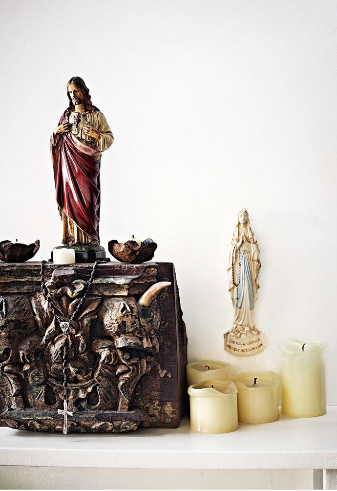 "Reproduction antiques sit comfortably alongside the real thing, thanks to a little roughing up. ""If something is too perfect, I usually distress it a little to give it character,"" he says. Tory adds: ""Often, it's the imperfection that makes things really beautiful.""<br><bR>**Decor** Keepsakes throughout the home of Giovanni and Tory include Jesus statues handed down from his Sicilian grandmother and a Moroccan souvenir turned into a chandelier by friend and artist Suzie Stanford."