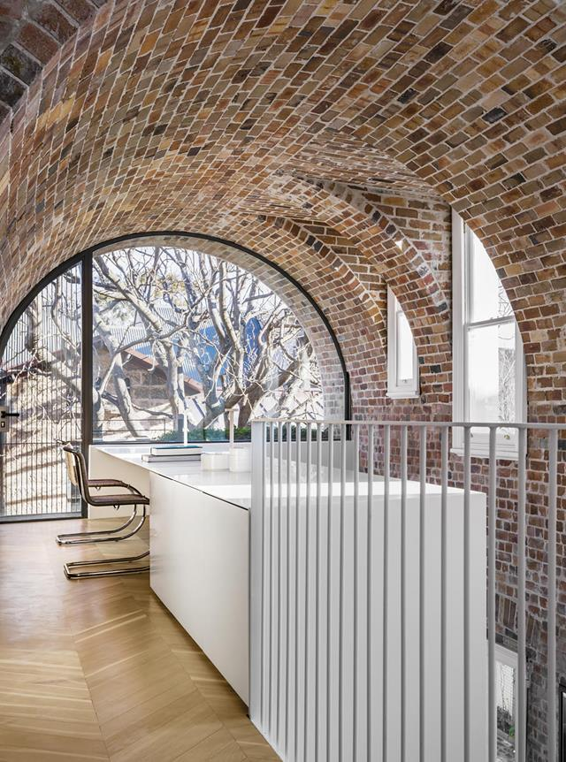 "Soaring ceilings and a brick barrel vault provide drama in this [remodelled 1890s Sydney terrace house](https://www.homestolove.com.au/remodelled-heritage-sydney-terrace-19592|target=""_blank""). ""Gallery like, the barrel vault is classically Roman,"" says architect Renato D'Ettorre."