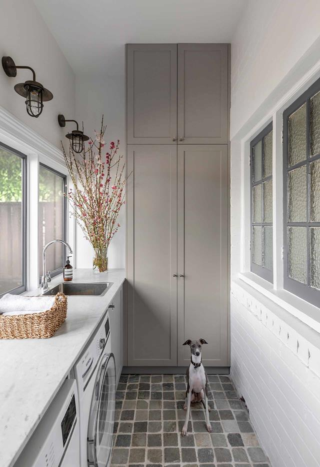 """Miller the Italian greyhound stands watch over this divine laundry conceived by Jillian Dinkel. Jillian's once 'uninhabitable' [Federation home](https://www.homestolove.com.au/jillian-dinkel-home-21167