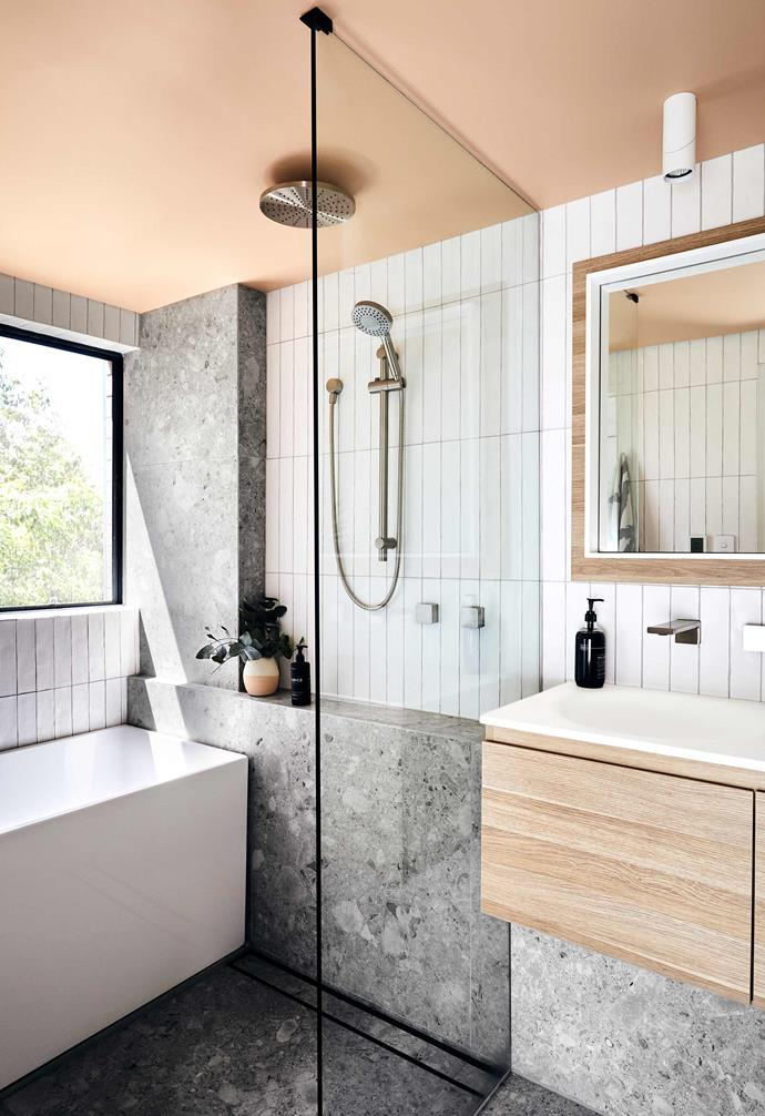 "Sometimes simple task lighting is the best type of lighting, so Shannon and Simon Vos added recessed strip lighting for ambience, while also incorporating white cylindrical downlights to the vanity area in their renovation of this [tiny apartment bathroom](https://www.homestolove.com.au/apartment-bathroom-renovation-19596|target=""_blank"")."